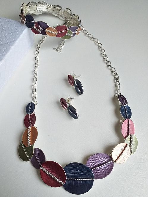Oval Diamante Necklace, Earrings Bracelet Set
