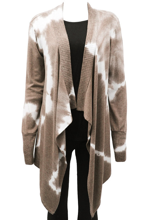 Brown tie-dye waterfall Cardigan Fits sizes 12-16
