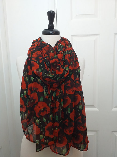 Black Red Poppy Scarf