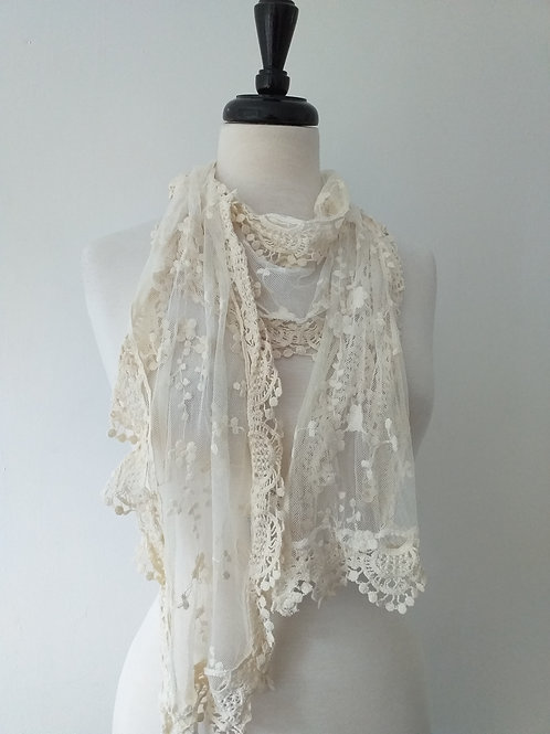 Cream Floral lace scarf