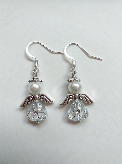 White silver Angel Earrings