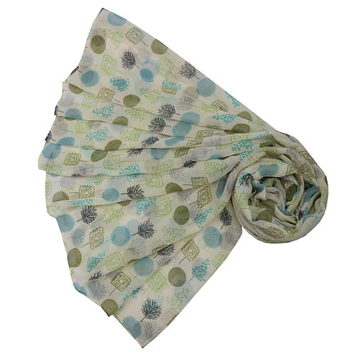 Forest Woods Lime Green & DuckEgg Scarf