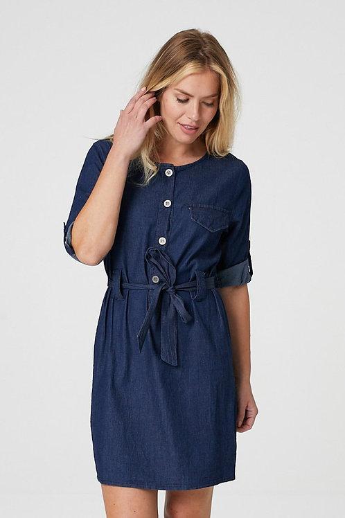 DENIM COLLARLESS SHIRT DRESS
