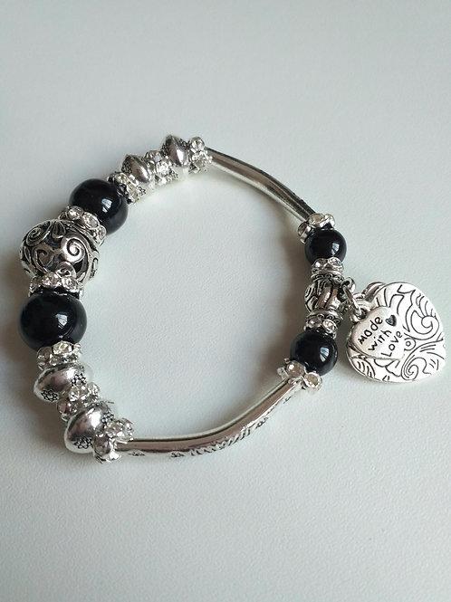 Black Glass Elasticated Bracelet