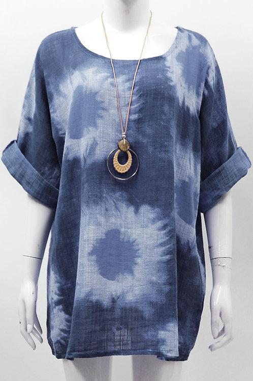 Blue ladies splash linen printed top Fits 12-16