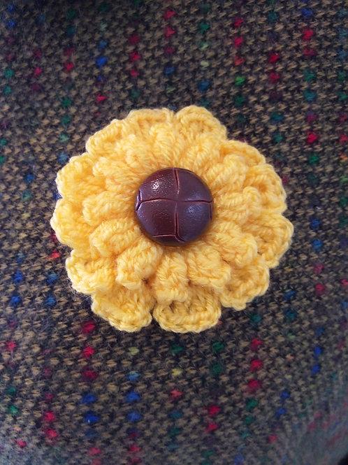 Yellow Handmade sunflower brooch