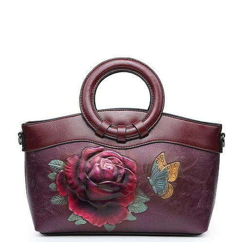 Ladies Rose Embossed Handbag
