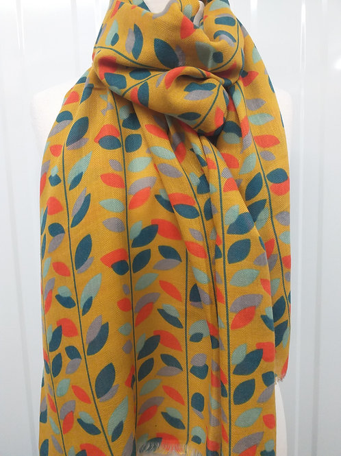 Mustard Colourful Leaves Scarf