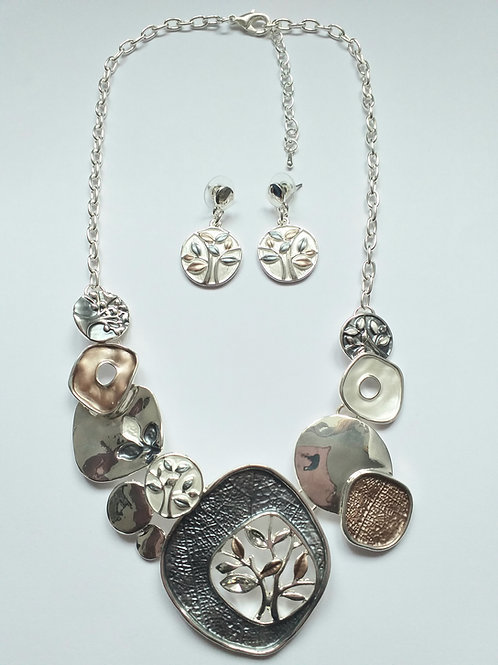 Tree Necklace Set Grey