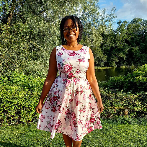 FLORAL SLEEVELESS FIT & FLARE DRESS Fits UK 8-16