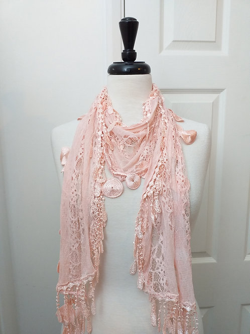 Pink Circles Lace Scarf