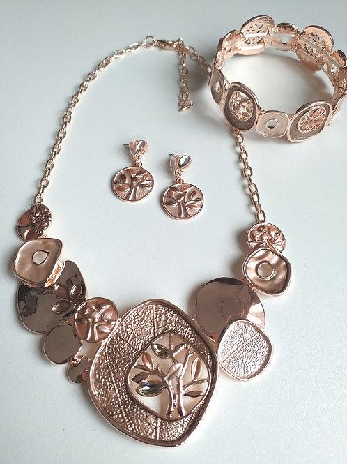 Gold Tree Necklace, Earrings Bracelet Set