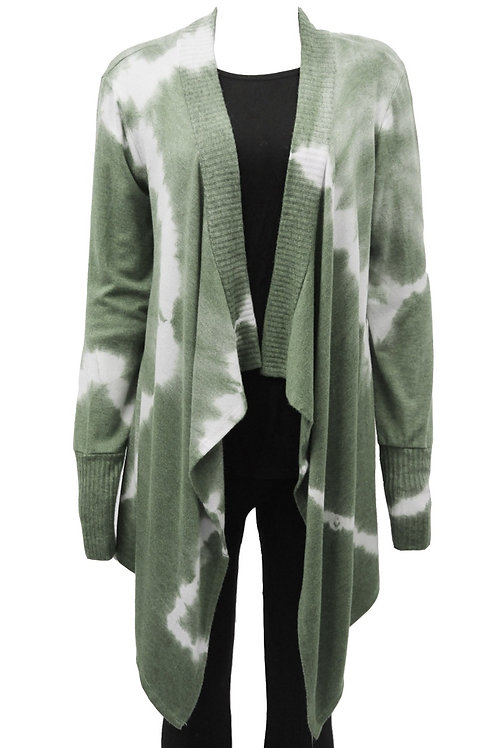 Khaki tie-dye waterfall Cardigan Fits sizes 12-16