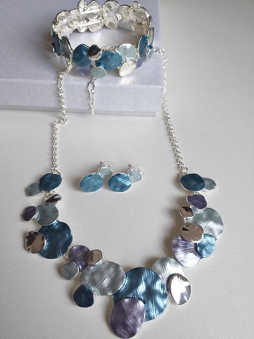 Malta Blue Necklace, Earrings Bracelet Set