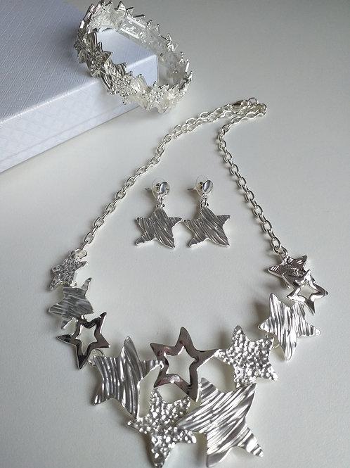 Stars Silver Necklace, Earrings Bracelet Set