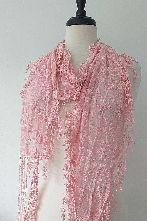 Pink lace floral waterfall scarf