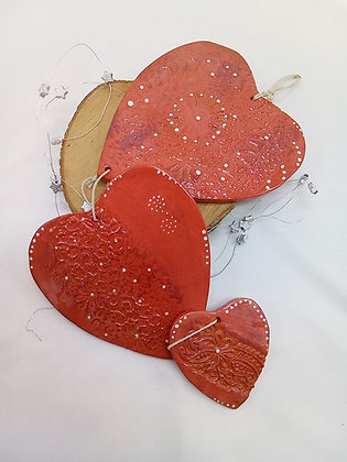 Coeurs en céramique à suspendre
