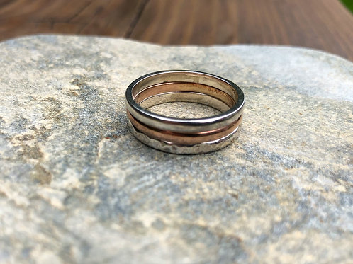Red Gold and Silver stacking Rings