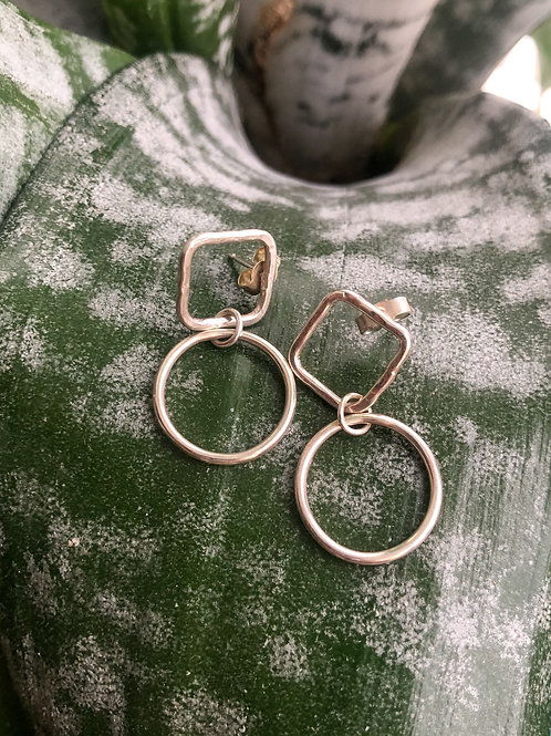 Square and Circle Earrings