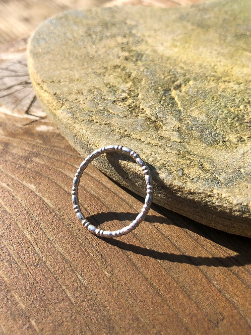 Oval and Rondelle Silver Ring