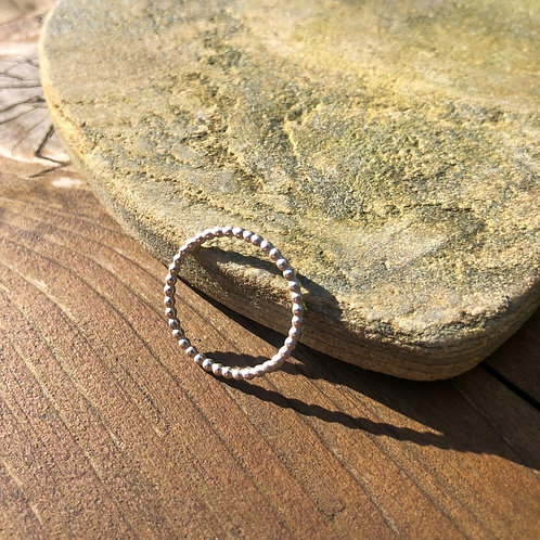 Silver Beaded Wire Ring
