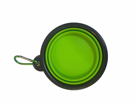 קערת טיולים למים ואוכל + מכסה   ירוק