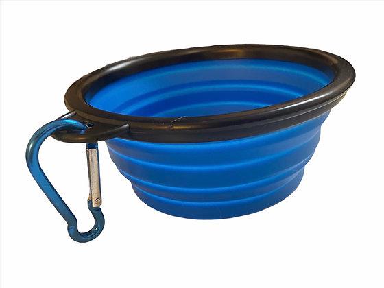 קערת טיולים למים ואוכל + מכסה | כחול