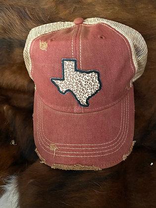 Texas Leopard Cap Hat-2049 Vintage Wine