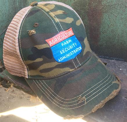 Farm Security Distressed Cap Hat-689 Camo