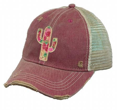 Cactus Rose Cap Hat-626 Wine