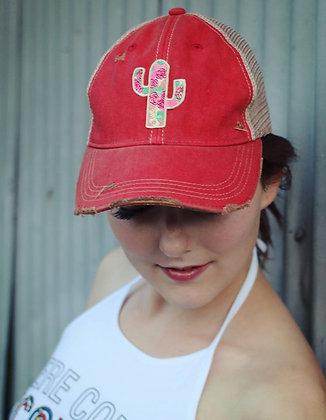 Cactus Rose Cap Hat-630 Red Wash