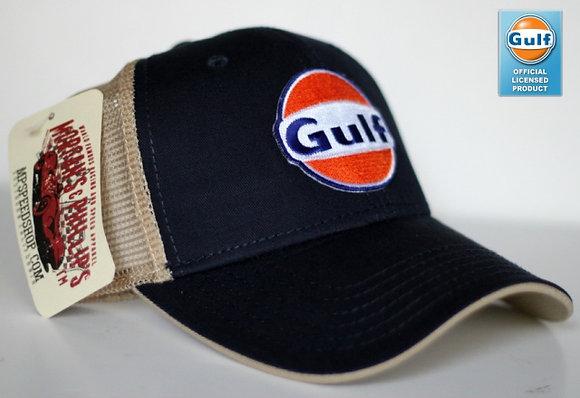 Gulf Trucker Cap Hat-001MPG  Navy/Tan Mesh