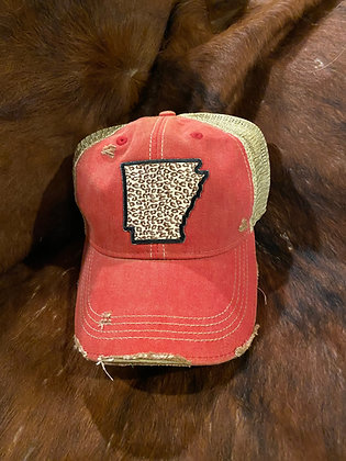 Arkansas Leopard Cap Hat-2044 Vintage Red Wash
