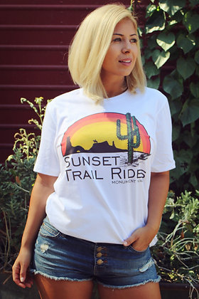 Sunset Trail Ride Cool Vintage Tee