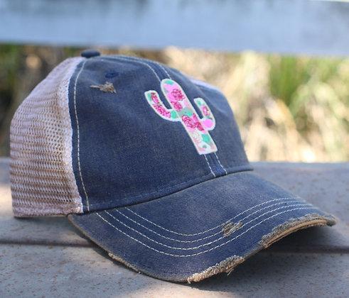 Cactus Rose Cap Hat-625 Blue