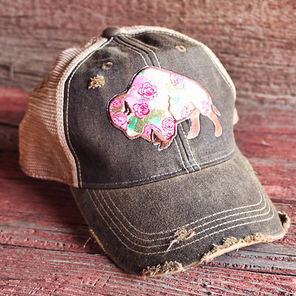 Buffalo Rose Cap Hat-631 Vintage Black