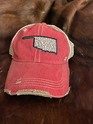 Oklahoma Leopard Cap Hat-2047 Red Wash