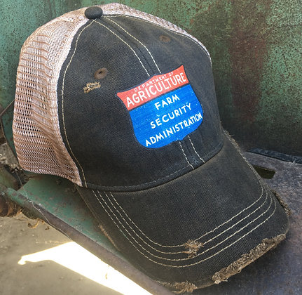 Farm Security Distressed Cap Hat-693 Black
