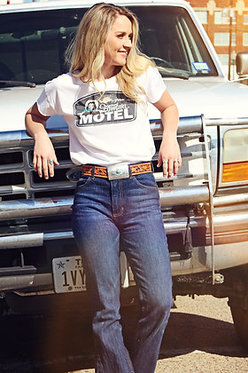 Original Cowgirl Motel Distressed Tee TL-3211  White