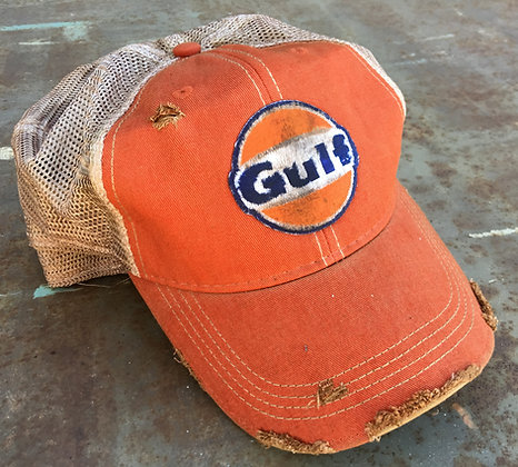 Gulf Oil Distressed Hat  Hat-006MPG Orange or Vintage Blue
