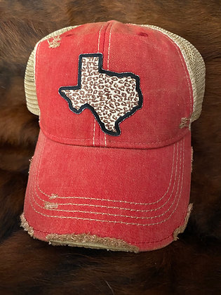 Texas Leopard Cap Hat-2051 Red Wash
