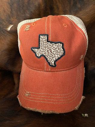 Texas Leopard Cap Hat-2052 Vintage Orange Crush