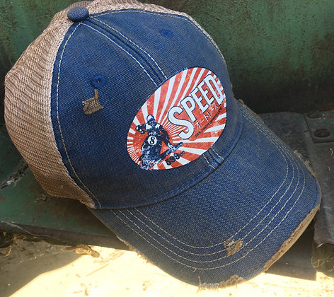 SPEED Vintage Distressed Style Cap Hat-686 Blue