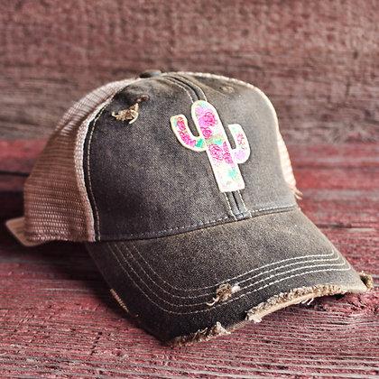 Cactus Rose Cap Hat-628 Vintage Black