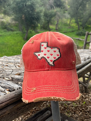 Texas Heart Cap Hat-2020 Red Wash