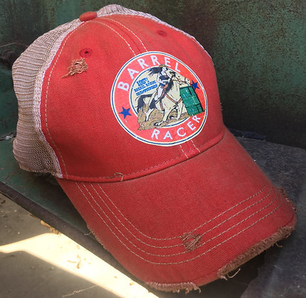 Barrel Racer Cap  Hat-690 Red Wash