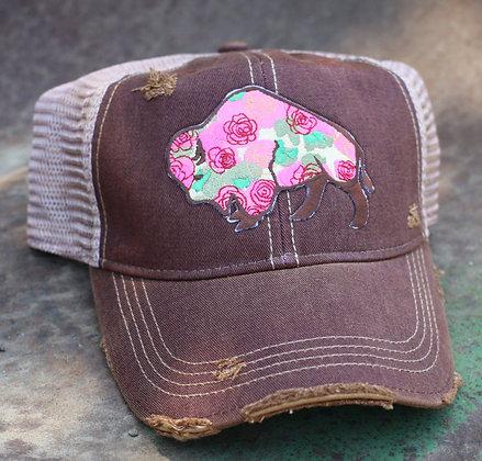 Buffalo Rose Cap Hat-646 Maroon