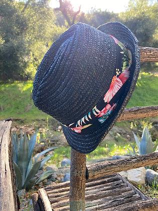 Hawaiian Cowgirl Fedora Hat-2030 Black