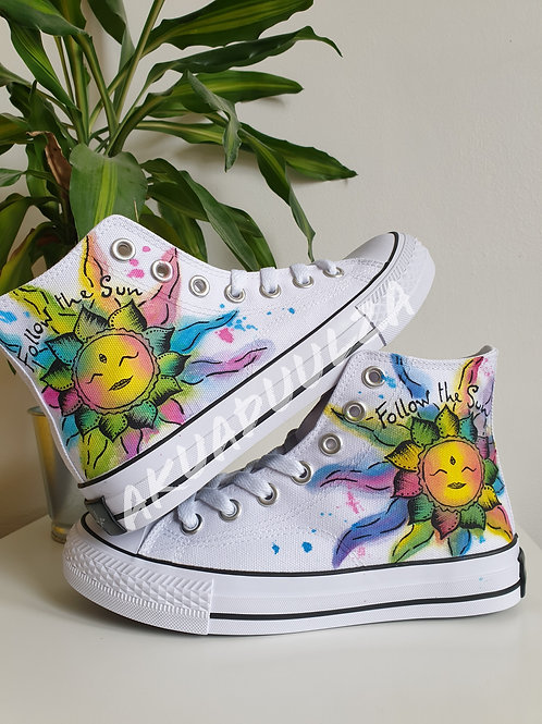 Sun painted Personalised Unisex Shoes / Hippie Sun Illustration with watercolour