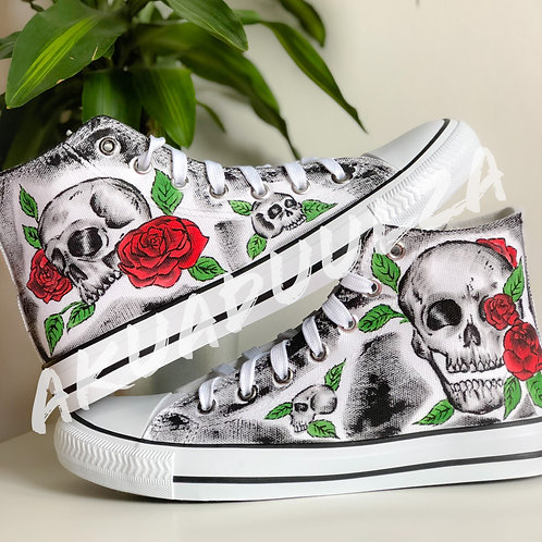 Skull with Roses  Hand painted shoes / Floral Gothic Skulls Personalised shoes